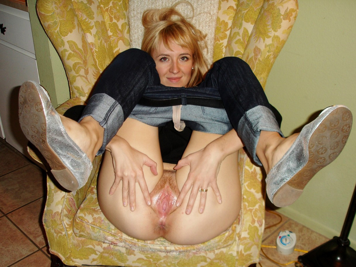 Hot milf wife spreads legs wide open