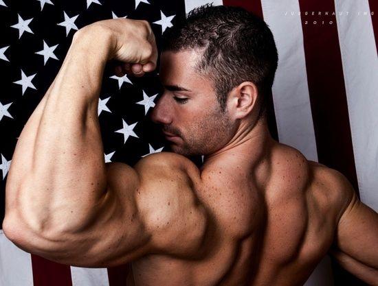 Big arm muscles hunk