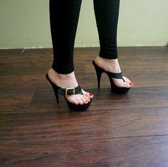Sexy girls wearing thong high heels