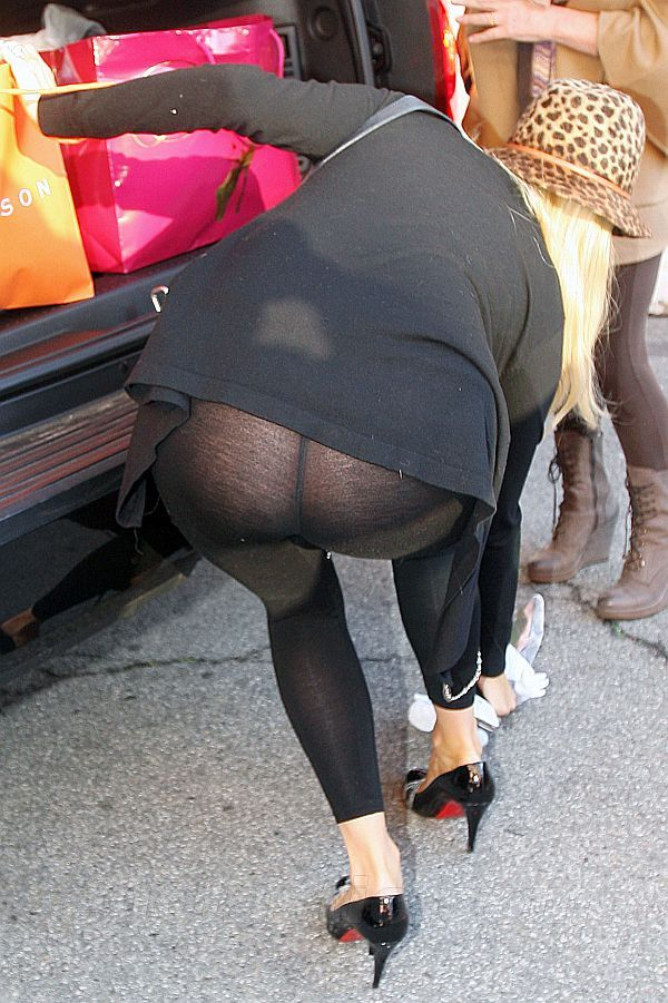Bent over shopping no panties