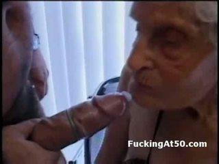 Wrinkled old granny blowjob