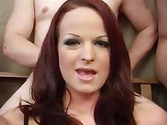 Redhead facial gangbang