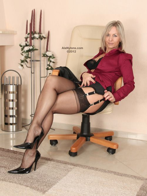nylon Mature stockings milf