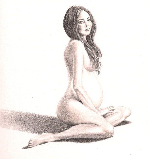 Nude pregnant women art
