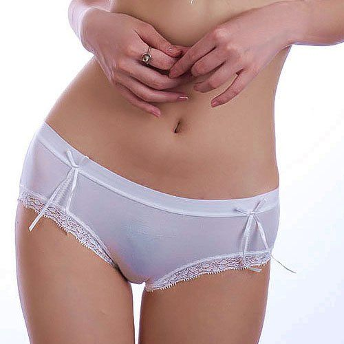 Wet white cotton panties