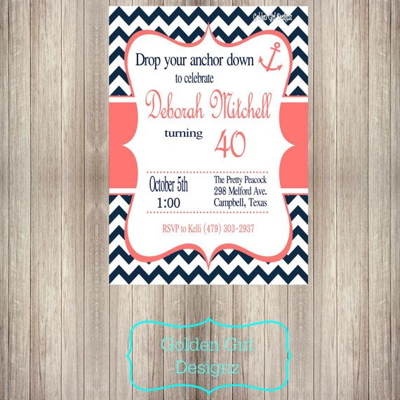 Nautical adult birthday party invitations
