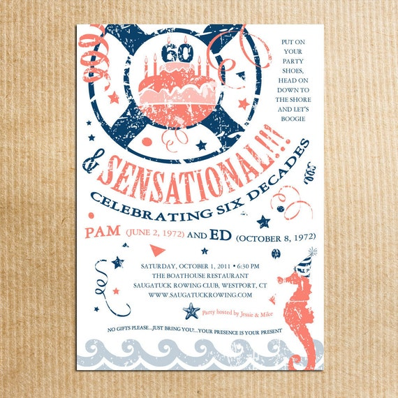 invitations Nautical party adult birthday