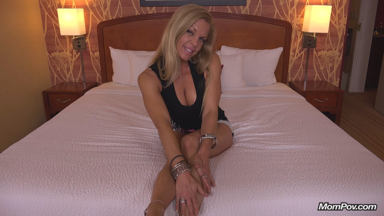 Horny blonde milf mom pov