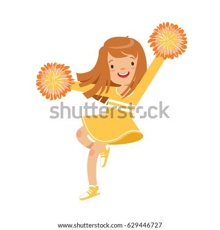 Cartoon girl cheerleader