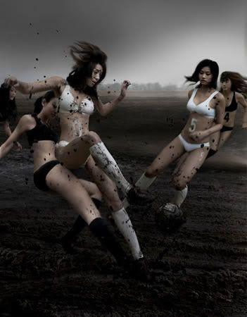 Hot sexy naked girls playing football