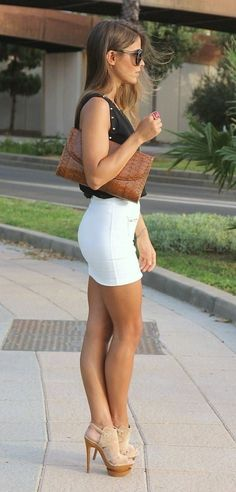 Tight mini skirt and high heels