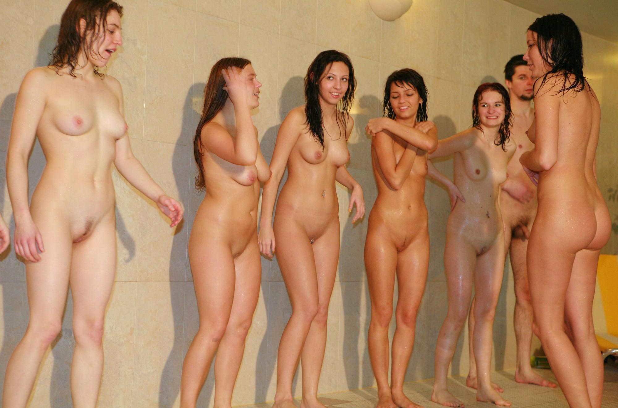 Naked women group nude girls sauna
