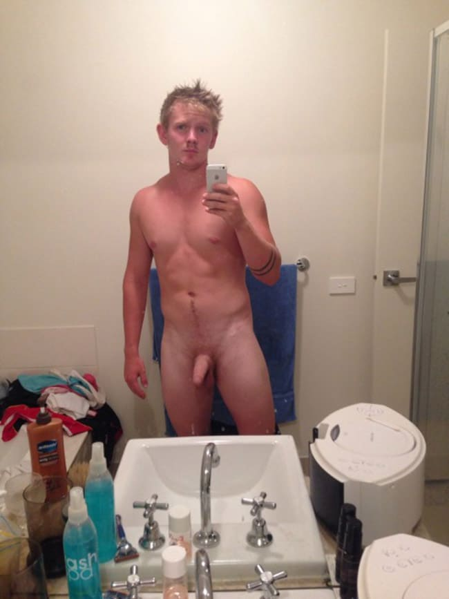 Cute blonde boy naked