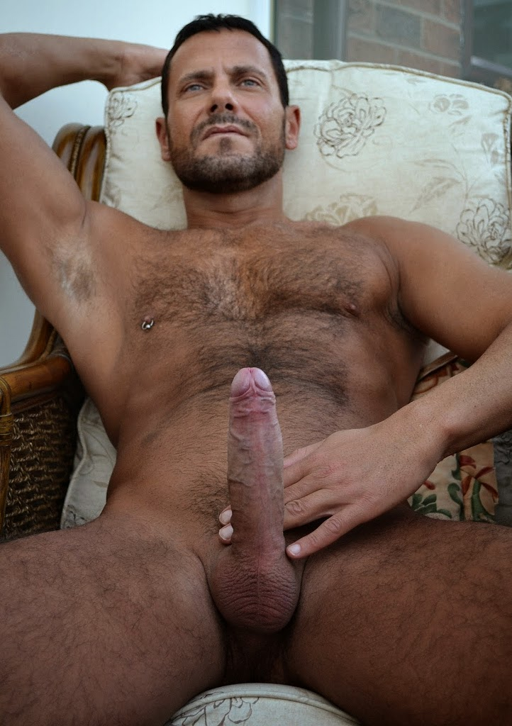 Naked men with hairy cocks