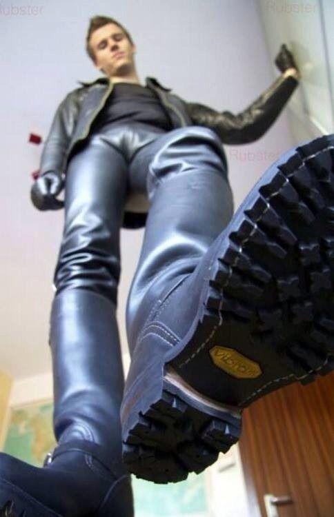 Gay men licking boots