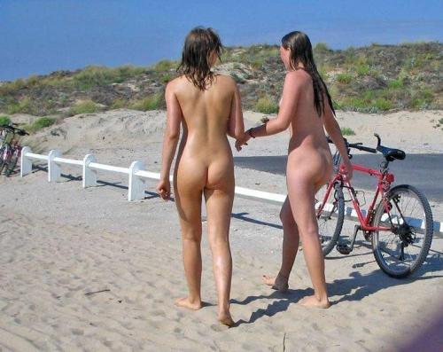 Nude beach girls walking naked