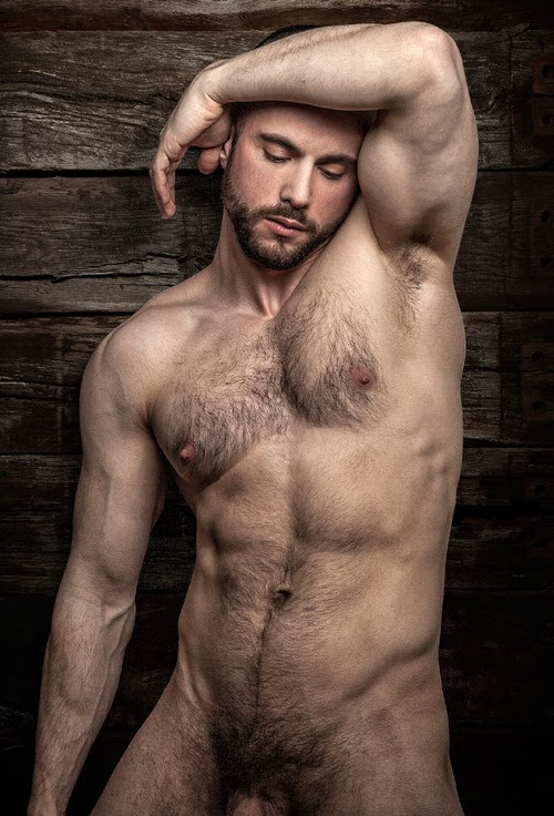 Hand some naked gay hairy muscle men