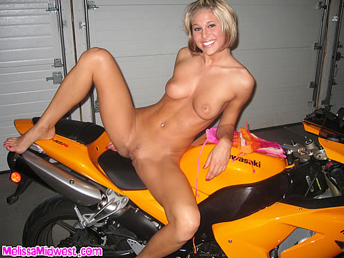 Hottie on motorcycle naked