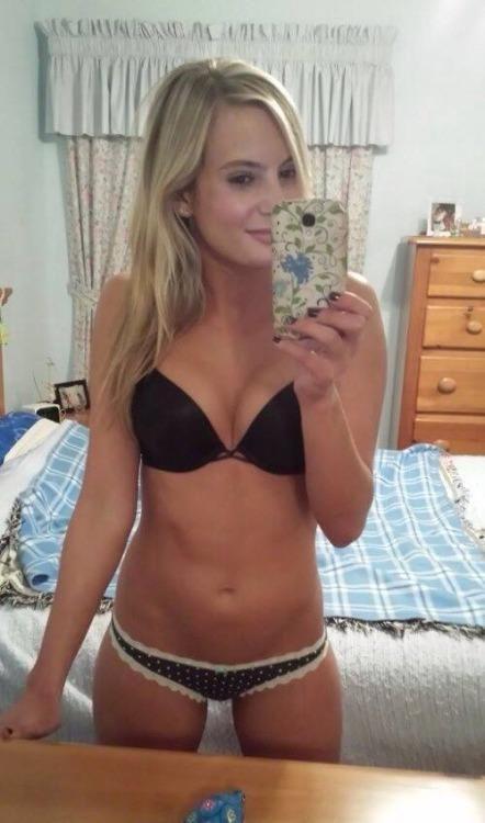 Blonde teen mirror self shot