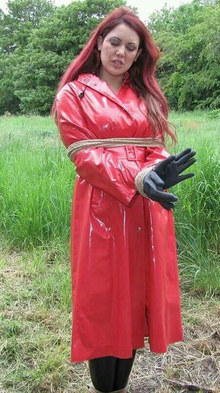 Rubber raincoat bondage