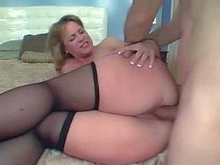 big ass stockings Mature blonde