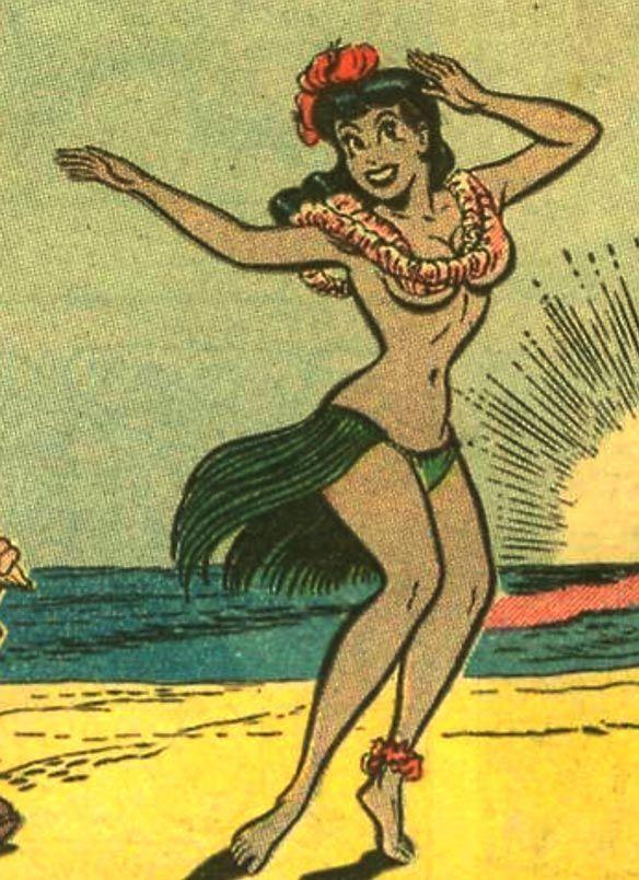girl art Vintage hawaiian hula