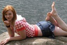Busty redhead teen feet