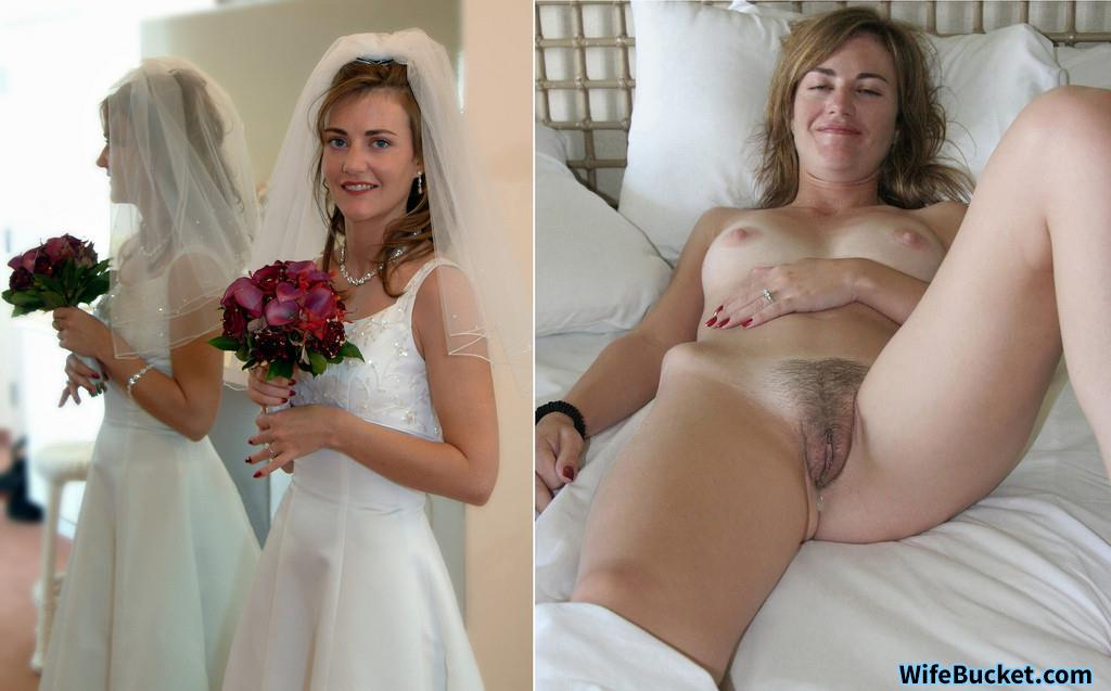 Beautiful amateur getting fucked after wedding bride