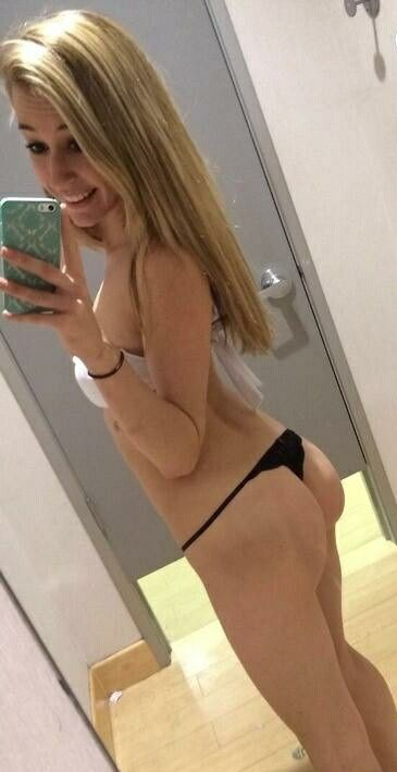 Blonde teen mirror self shot