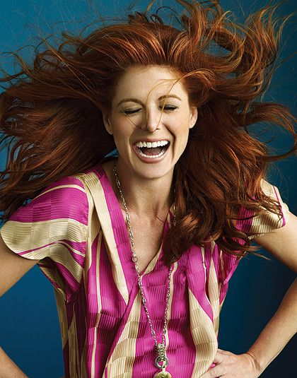 fakes Debra messing