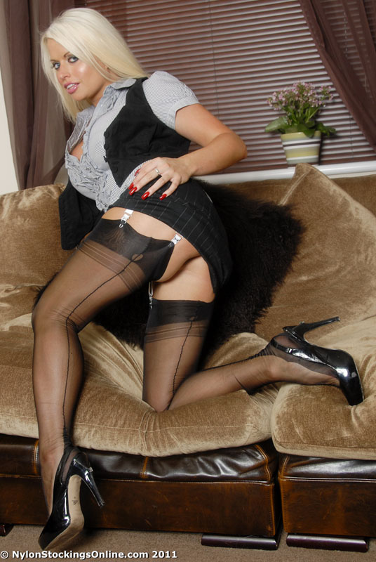 Blondes in black seamed stockings