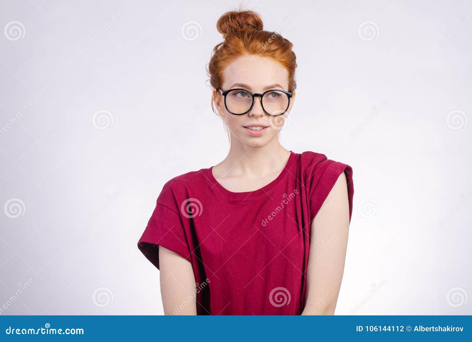 Cute redhead wearing glasses