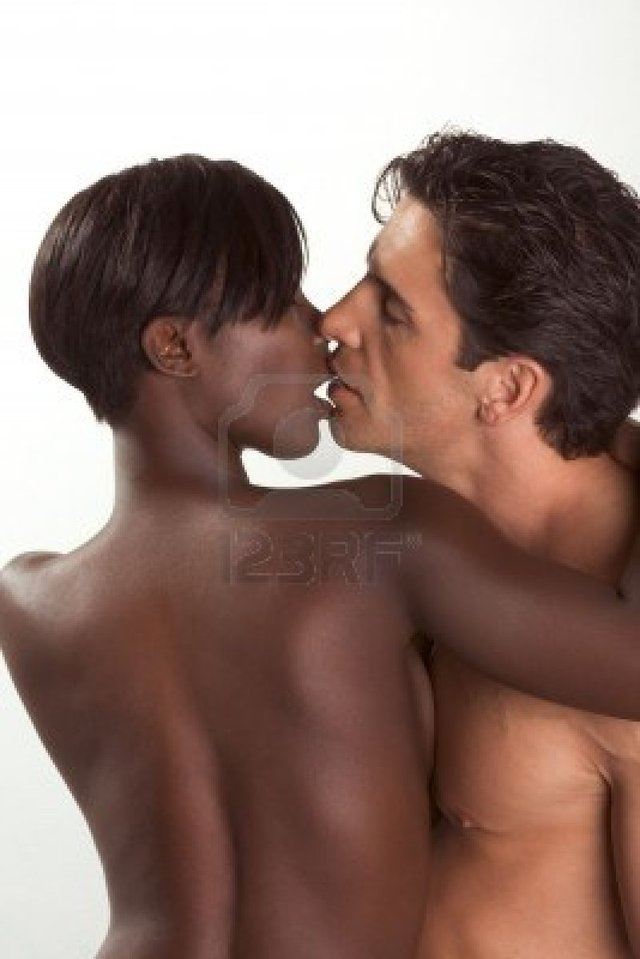 Nude black women white men