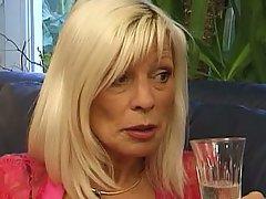 Mature blonde granny cum facial