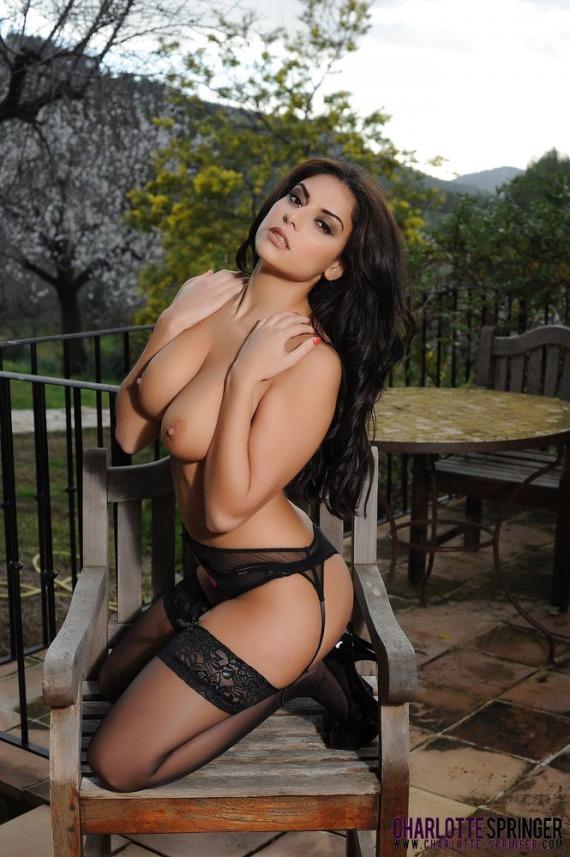 Sexy brunette strips naked