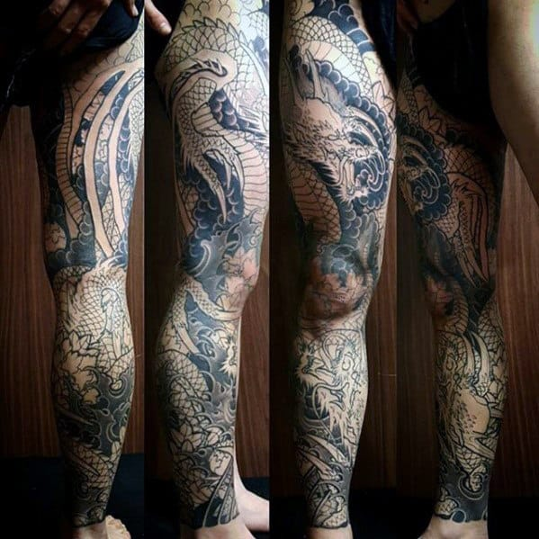 tattoo Full leg dragon