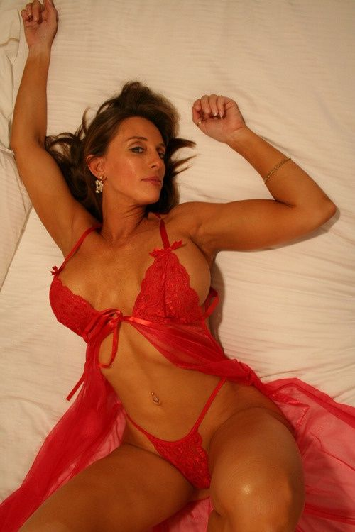 Mature milf red lingerie