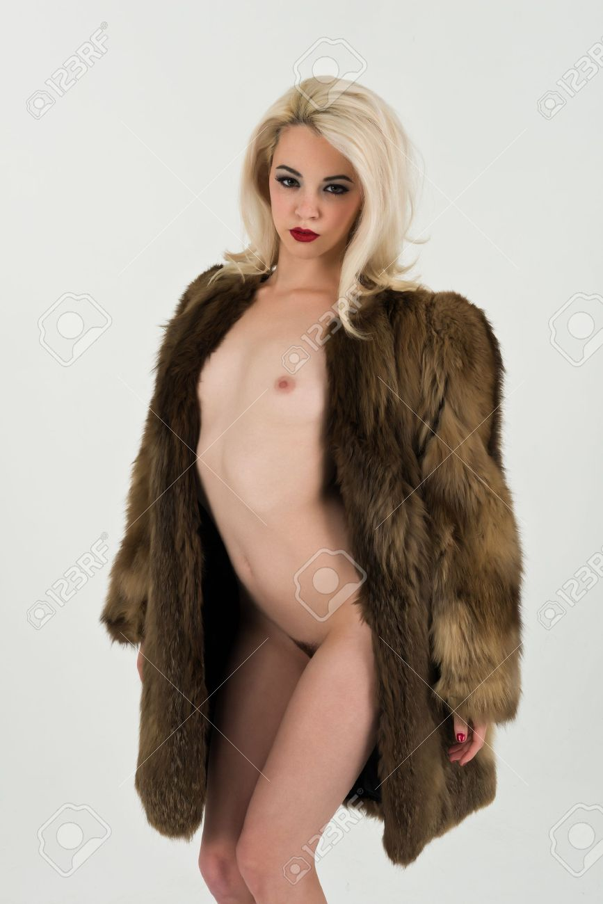 Nude blonde fur coat