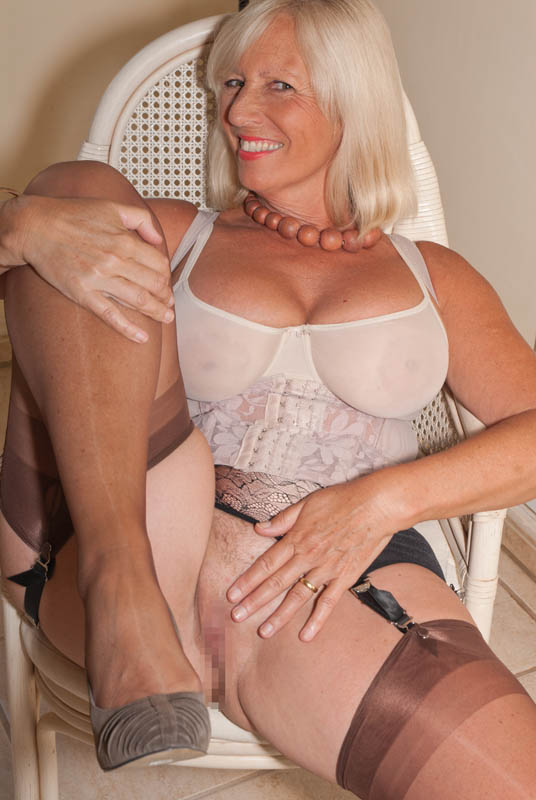 Mature blonde big ass stockings