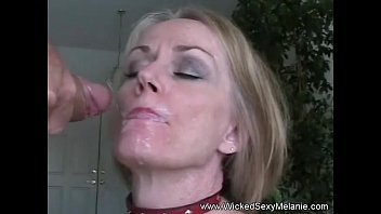 Mature blonde granny cum facial