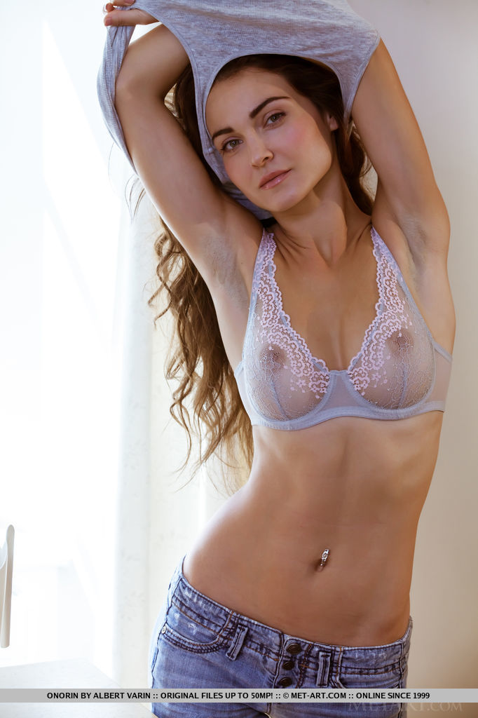 Nude girls in blue jeans topless
