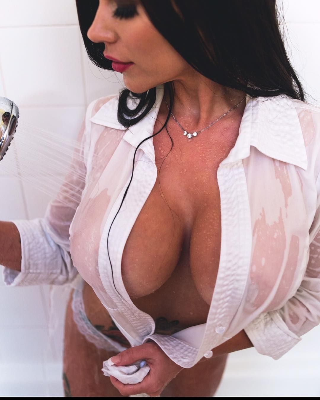 with clothes Shower wet big tits