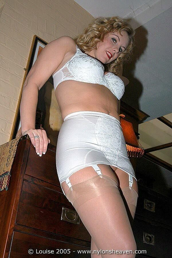 Mature girdle stockings