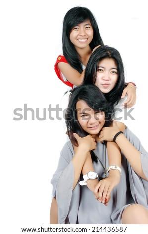 Playful asian teen