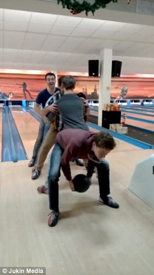 Busty girl bowling balls