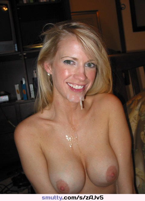 Amateur blonde cum face
