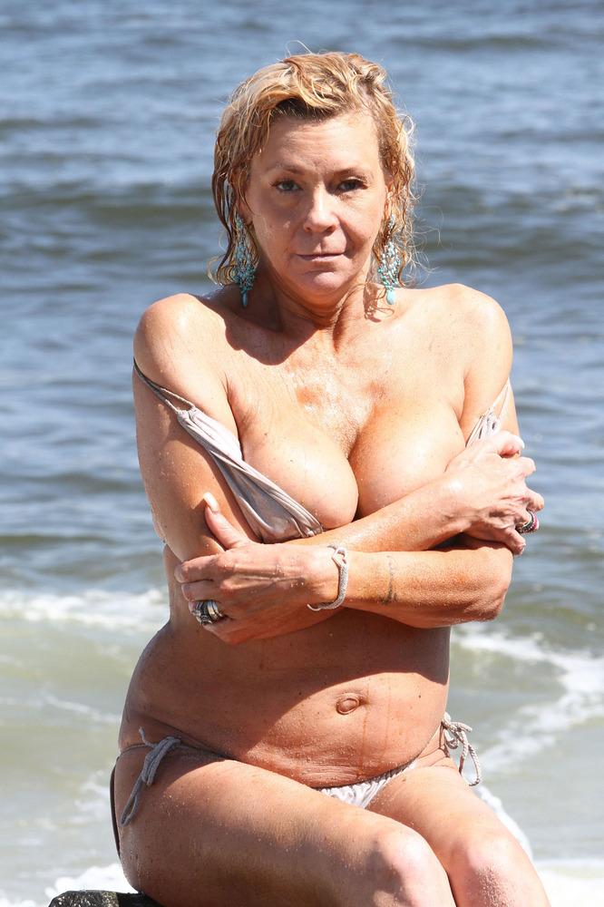 Tanning mom topless bikini