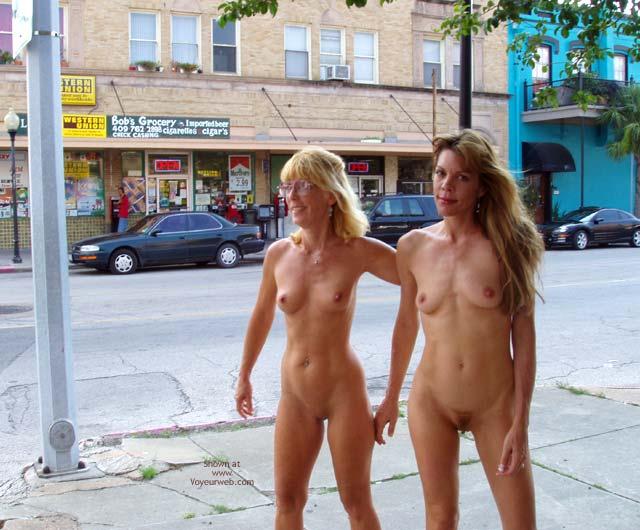 Girls walking naked in public