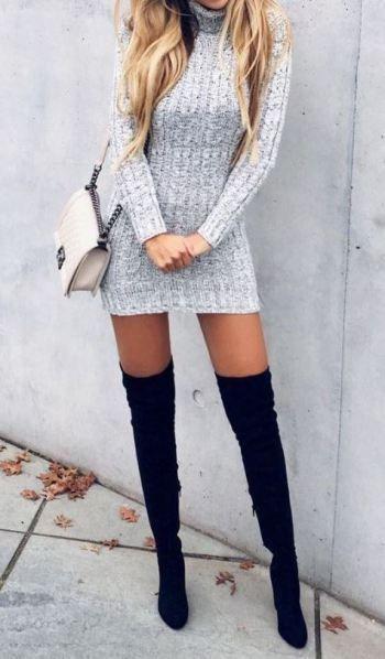 Blonde teen black thigh high
