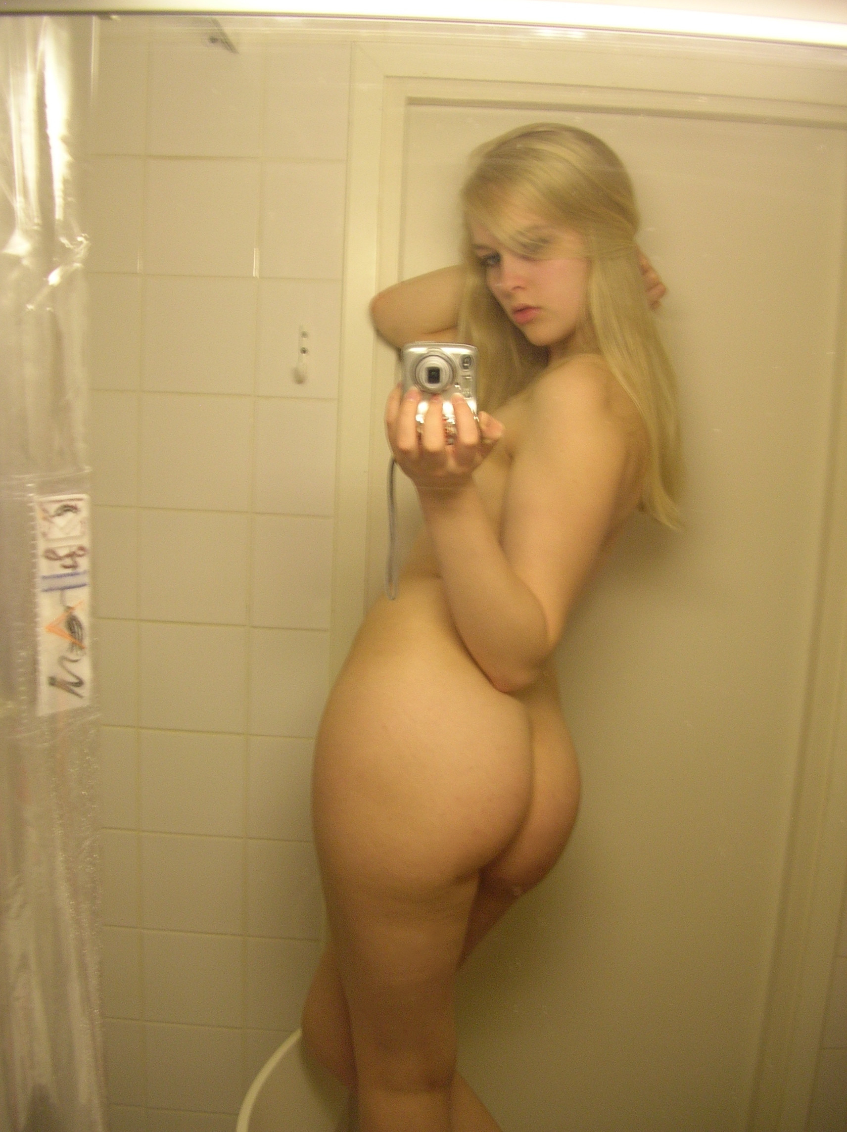 Blonde girl naked shower